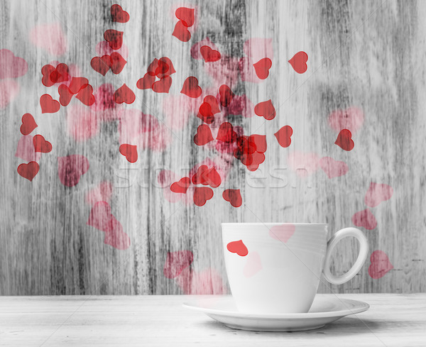 Stock photo: Mug lovers White cup  warm hearts wooden background