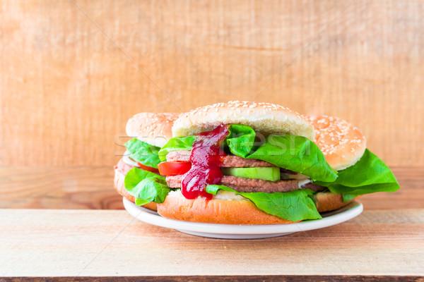 3  牛肉 木製のテーブル 肉 脂肪 サンドイッチ ストックフォト © fotoaloja
