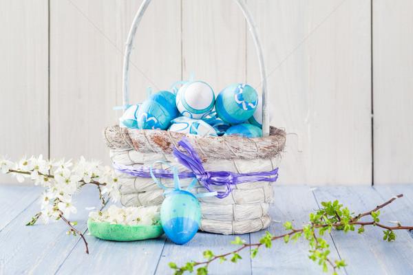 Easter eggs basket spring branches Stock photo © fotoaloja