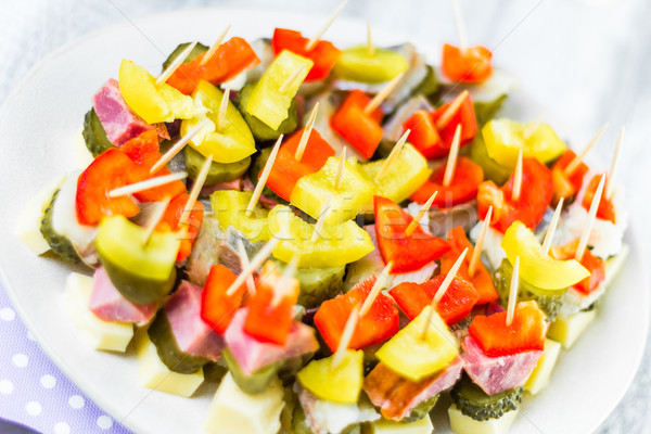 Mini sandwiches toothpicks appetizer Stock photo © fotoaloja