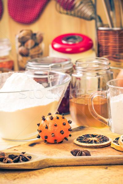 Malzemeler hazırlık Noel zencefilli çörek mutfak masası Stok fotoğraf © fotoaloja