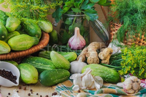 Gurken unterschiedlich Komponenten Bauernhof Markt Anlage Stock foto © fotoaloja