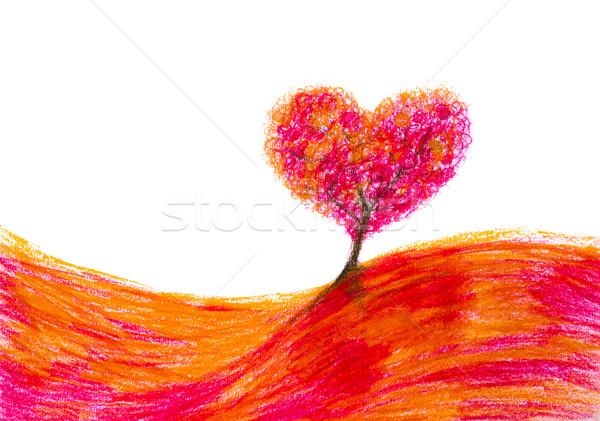 Paysage arbre forme coeur art peinture Photo stock © fotoaloja
