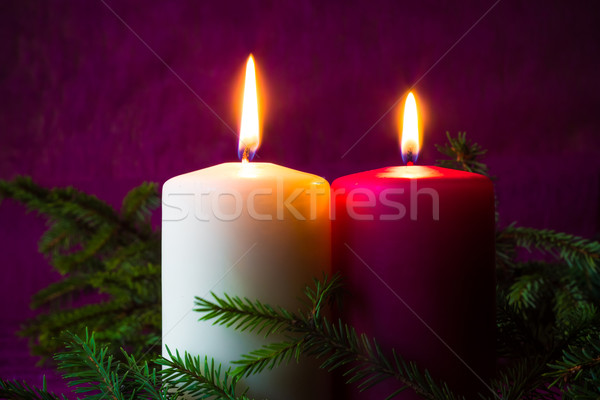 Christmas ornaments lighted candles spruce twigs Stock photo © fotoaloja