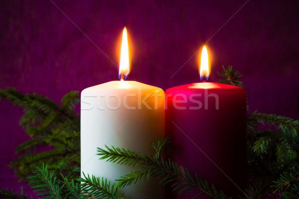 Noël ornements bougies épinette lumière hiver Photo stock © fotoaloja