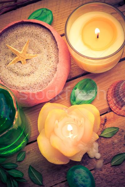 Spa Meer Sand Shell duftenden Kerzen Stock foto © fotoaloja