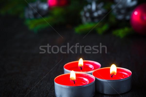 Christmas tree candle wooden Christmas Stock photo © fotoaloja
