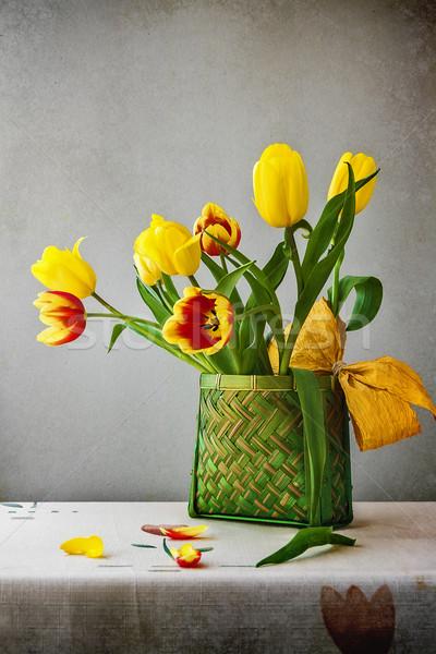 Still life bouquet tulips classic style Stock photo © fotoaloja