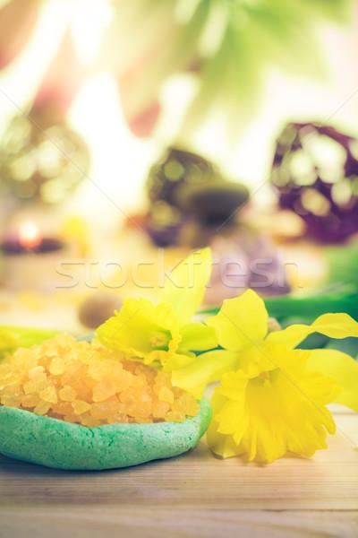 Spa fleur zen pierres santé beauté Photo stock © fotoaloja