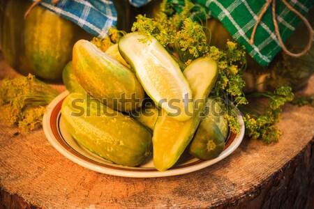 огурцы пластина соленья таблице фермы рынке Сток-фото © fotoaloja