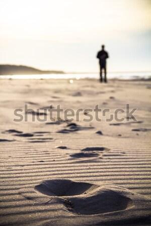 Nordic walking sport run walk motion blur outdoor person legs tr Stock photo © fotoaloja