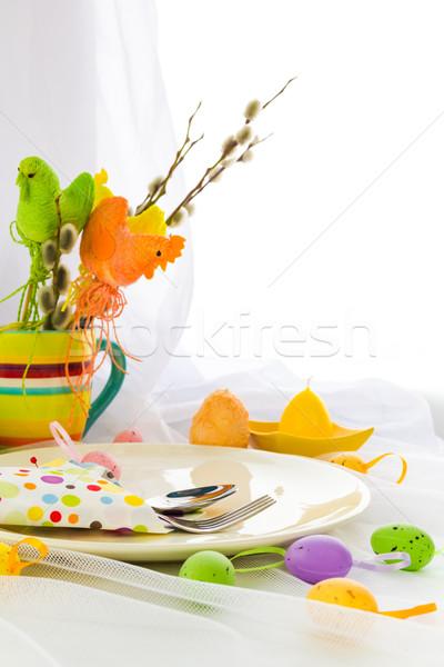 Páscoa tabela talheres pessoa uma pessoa jantar Foto stock © fotoaloja