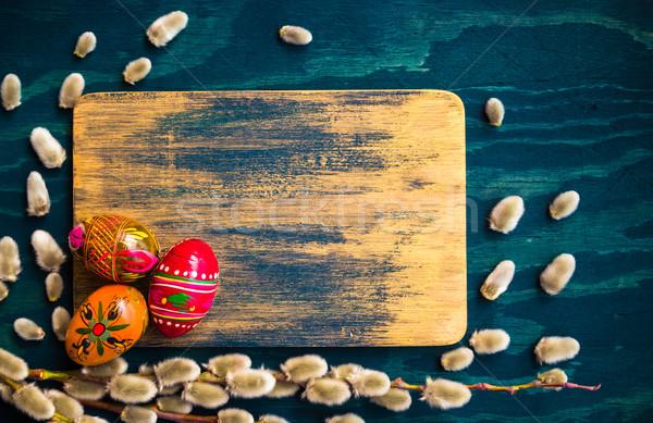 Willow catkins eggs wooden board Stock photo © fotoaloja