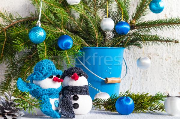 Pokładzie christmas zimą plusz miękkie Zdjęcia stock © fotoaloja