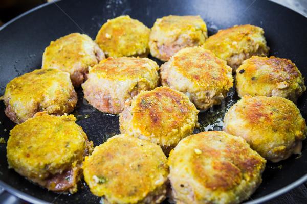 Conjunto carne Óleo jantar quente cozinhar Foto stock © fotoaloja
