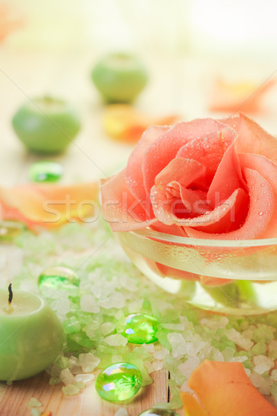 Spa компоненты закрывается цветок ароматический Сток-фото © fotoaloja