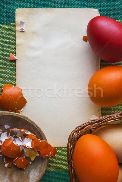 background colorful Easter eggs white paper Stock photo © fotoaloja