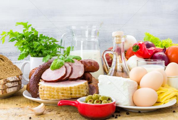 セット 異なる 食品 健康食 多くの 木材 ストックフォト © fotoaloja