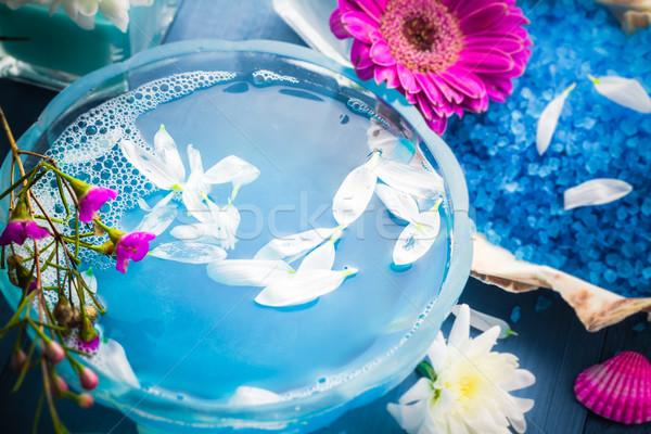 Fürdő víz fürdősó kagylók virágok virág Stock fotó © fotoaloja
