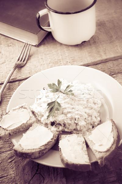 Süzme peynir ekmek fincan taze süt bağbozumu gıda Stok fotoğraf © fotoaloja
