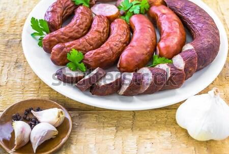 Prato completo espécies salsichas natureza Foto stock © fotoaloja
