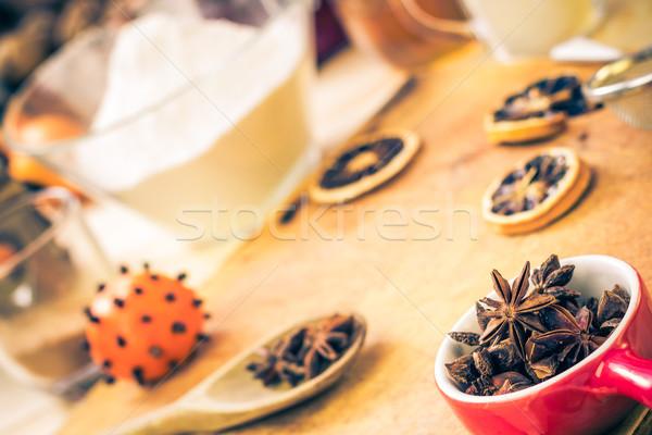 Stok fotoğraf: Malzemeler · hazırlık · Noel · zencefilli · çörek · mutfak · masası