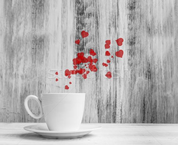 Caneca amantes branco copo quente corações Foto stock © fotoaloja