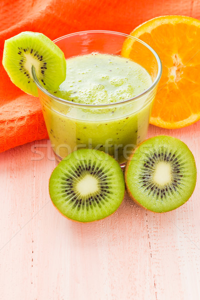 Zdrowa dieta kiwi pomarańczowy drewniany stół owoców Zdjęcia stock © fotoaloja