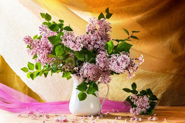 Stok fotoğraf: Natürmort · buket · çiçekler · çiçeklenme · bahar · ahşap