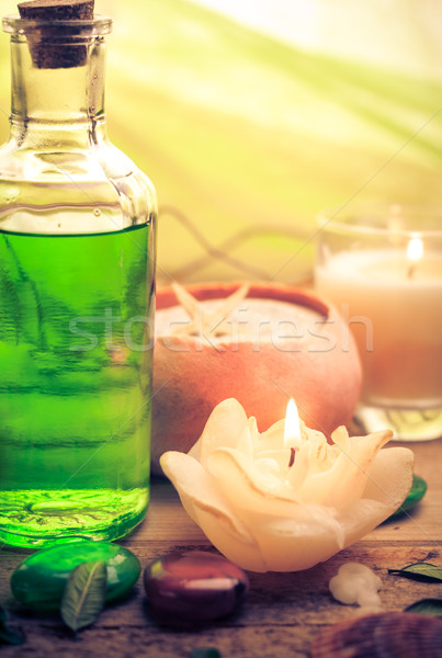 Photo stock: Pétrolières · massage · aromatique · bougies · pierres · zen