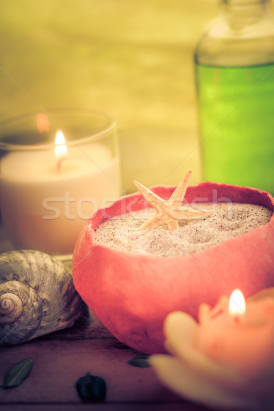 Oil massage aromatic candles stones Zen Stock photo © fotoaloja