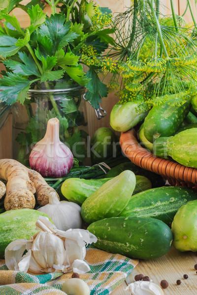 Foto stock: Pepinos · componentes · fazenda · mercado · planta
