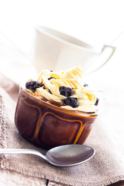 creamy dessert sweet coffee cup black wooden board Stock photo © fotoaloja