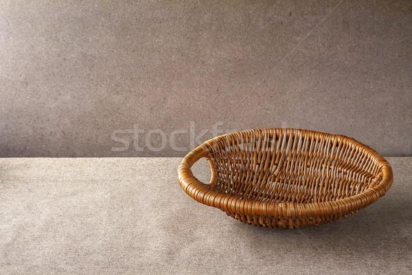 wooden basket grunge background empty Stock photo © fotoaloja
