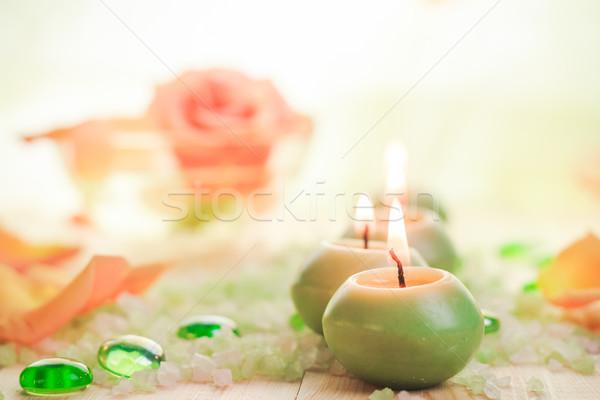 Ardor velas sal spa poco flor Foto stock © fotoaloja