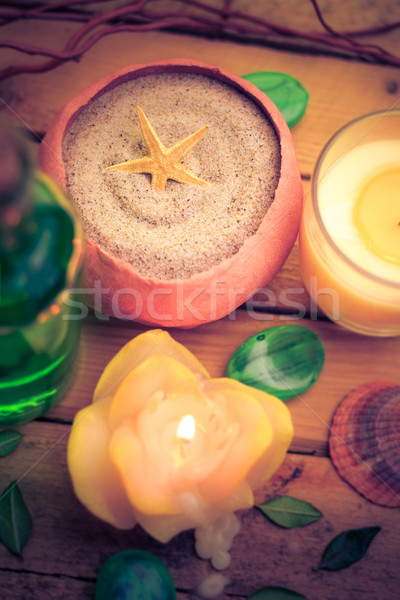 Spa concept sea sand shell scented candles Stock photo © fotoaloja