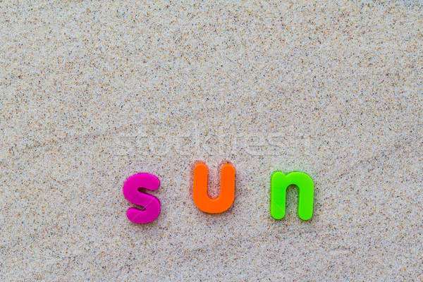 Kelime güneş kum mavi tahta plaj Stok fotoğraf © fotoaloja