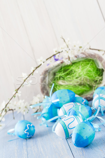 View Easter eggs spring branches Stock photo © fotoaloja