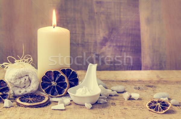 Zen kamienie aromatyczny Świeca tabeli ognia Zdjęcia stock © fotoaloja