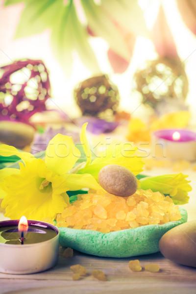 Spa concept scented candle salt bath Stock photo © fotoaloja