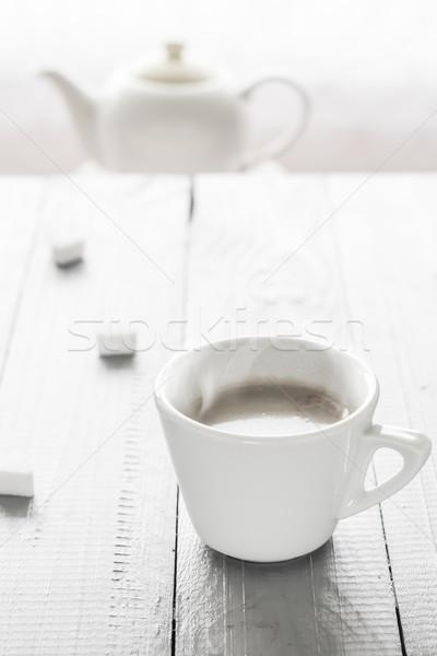 Taza de café leche terrones de azúcar restaurante mesa energía Foto stock © fotoaloja