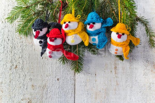 Pokładzie christmas zimą plusz zespołu Zdjęcia stock © fotoaloja