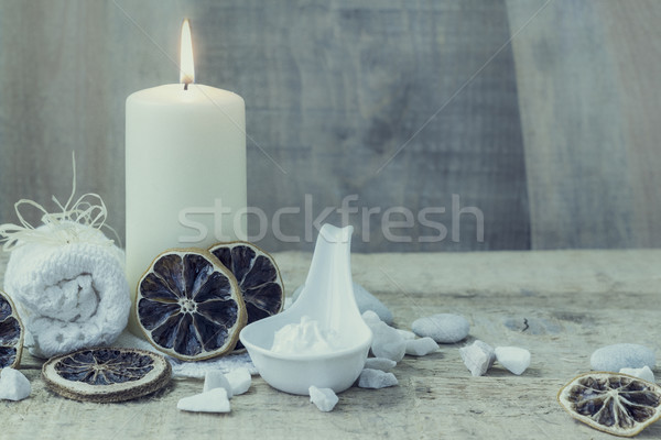 Spa benessere candela asciugamano fuoco corpo Foto d'archivio © fotoaloja