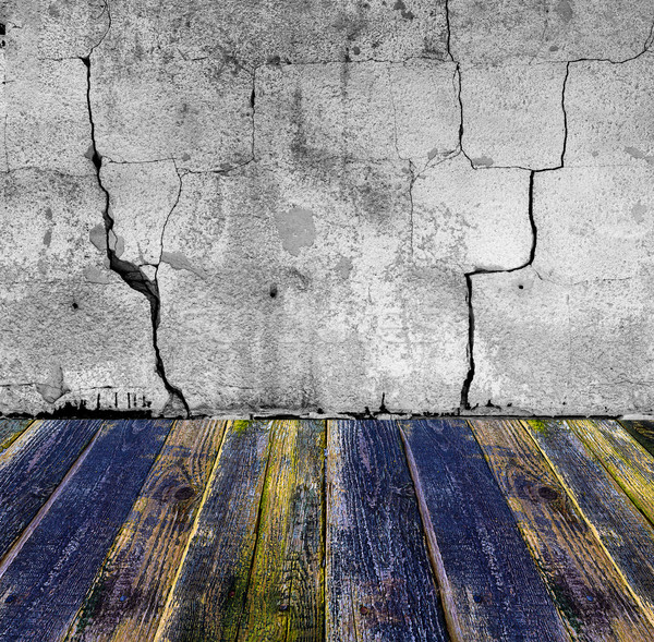 grunge stone wall painted wooden floor Stock photo © fotoaloja