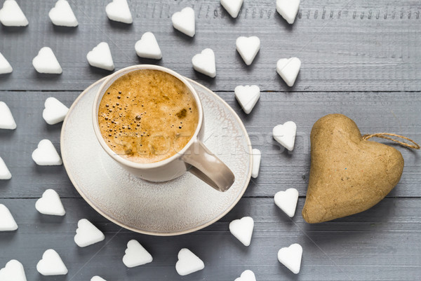 Valentine cup coffee boards sugar cubes heart Stock photo © fotoaloja