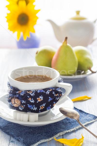 coffee cup black wooden board brown white jug milk sunflower pea Stock photo © fotoaloja