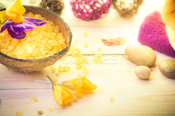 Spa salt stones Zen wellness session Stock photo © fotoaloja