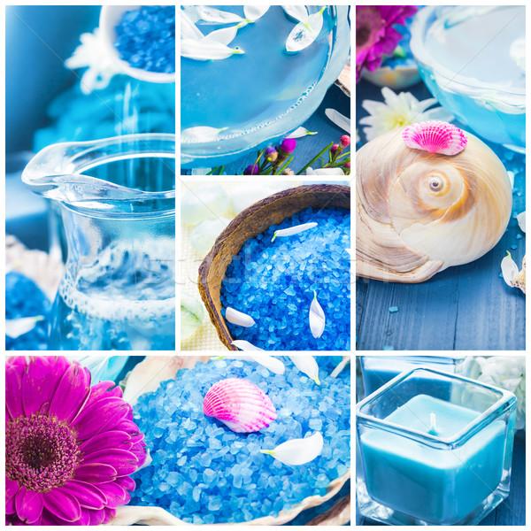 Wellness collage floral water bath salt spa series Stock photo © fotoaloja