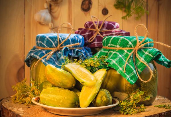 Table en bois table ferme marché usine bord Photo stock © fotoaloja