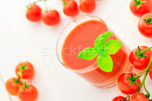 Gezonde voeding sap Rood kerstomaatjes voedsel retro Stockfoto © fotoaloja